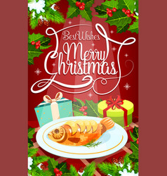 christmas eve dinner banner with gift and fish vector image vector image