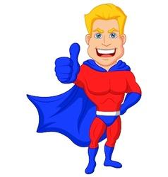 Superhero cartoon with thumb up vector image vector image