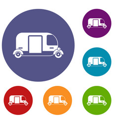 thailand three wheel native taxi icons set vector image vector image