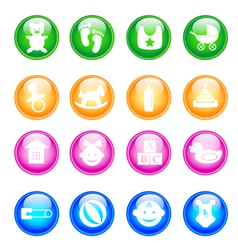 Baby colorful icon set vector image vector image