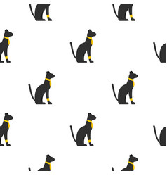 black sitting egyptian cat pattern seamless vector image vector image