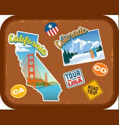 california and colorado travel stickers vector image