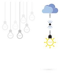 Creative light bulb symbol with cloud computing vector