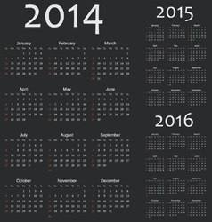 Simple european 2014 2015 2016 year calendars vector image vector image