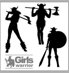 Vikings warriors nordic girl scandinavian woman vector