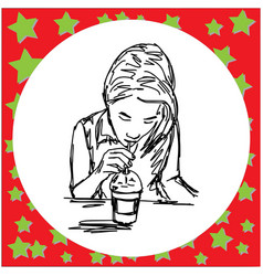 woman drink iced coffee vector image
