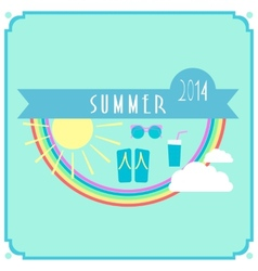 Blue summer card with sun rainbow clouds vector image vector image