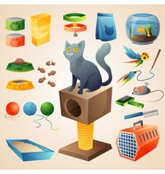 Cat stuff set vector image vector image