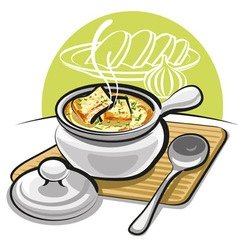 french onion soup with croutons vector image vector image