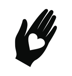 Heart in a hand black simple icon vector image