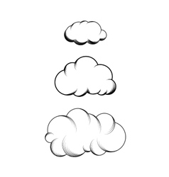 Set of hand drawn engraving clouds vector image vector image