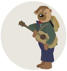 teddy bear is guitarist vector image