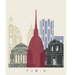 Turin skyline poster vector image vector image