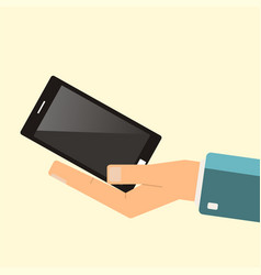 buying smartphone the hand hold smartphone vector image vector image