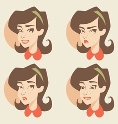 Cartoon girl face vector image vector image