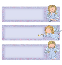 Horizontal banner with cute angels vector image vector image