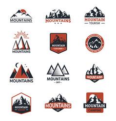mountain silhouette travel logo badge vector image