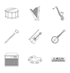 Musical instruments set icons in outline style vector