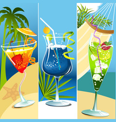 Tropical drinks vector image vector image
