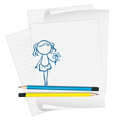 a paper with a drawing a girl holding a flower vector image