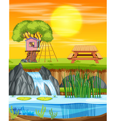 a tree house at the park vector image
