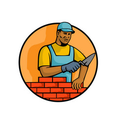 African american bricklayer mascot vector