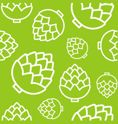 Artichokes seamless pattern outline vegetable vector