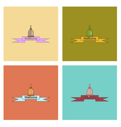 Assembly flat icons school bell vector