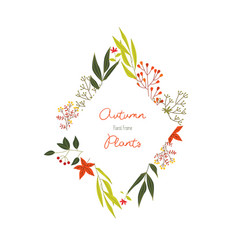 autumn colorful plants in decorative element of vector image