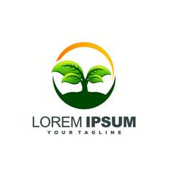 awesome green leaf logo design vector image