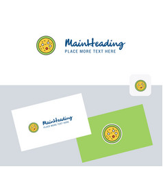 Bacteria on plate logotype with business card vector