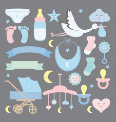 Bashower set accessories icons vector