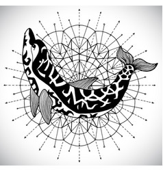 Black and white dolphin on pattern circle vector