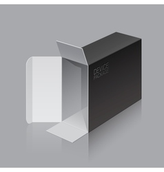 Black Package Box Opened lying on its side vector image vector image