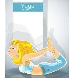 Blond girl in yoga pose Dhanurasana Bonus poster vector image