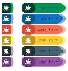 Boat icon sign Set of colorful bright long buttons vector