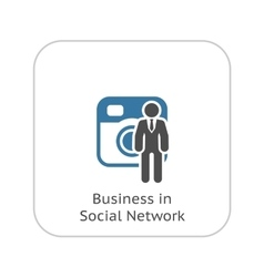 Business in Social Network Icon Flat Design vector image
