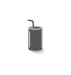 can with straw icon simple flat style vector image