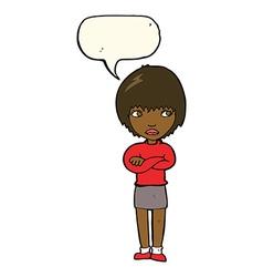 Cartoon annoyed woman with speech bubble vector