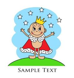 Cartoon baby in the crown and mantle vector image