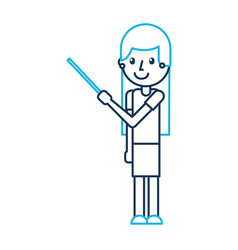 cartoon teacher with pointer standing vector image