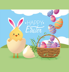 Chick inside egg broken and easters decoration vector