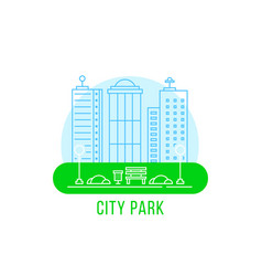 City park with thin line landscape vector