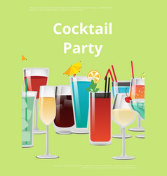 Cocktail party advert poster vector