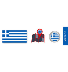 Collection greek national flags isolated vector