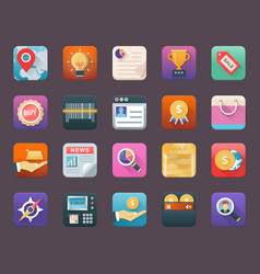 Colorful flat icons of finance vector