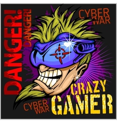 Crazy Gamer - Emblem for T-Shirt vector