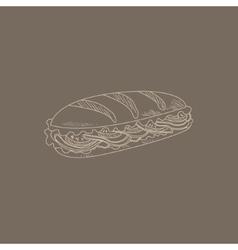 Cuban Sandwich Hand Drawn Sketch vector