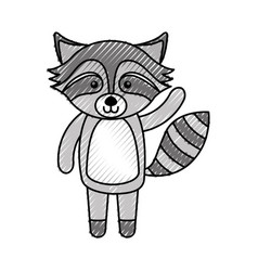 cute scribble raccoon cartoon vector image