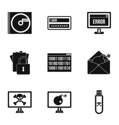 Data theft icons set simple style vector